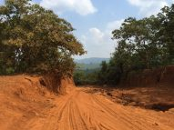 The red dirt road to the waterfall