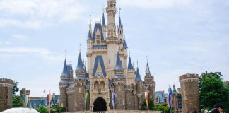 The iconic castle at Tokyo Disneyland, Japan