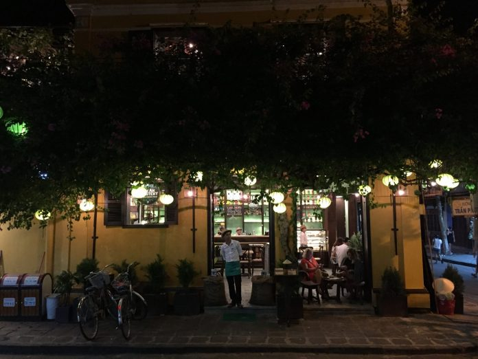 A coffee shop at Hoi An at night