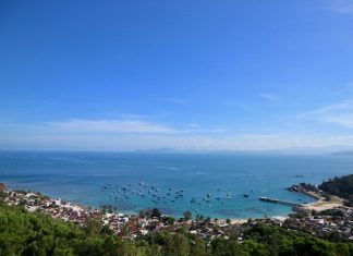 The fishing village at Cu Lao Xanh island, near Quy Nhon city, Binh Dinh, Vietnam