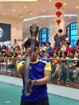 Performer with his snake at the show.