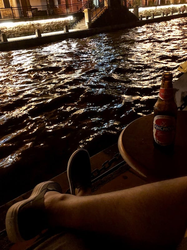 alongside the old town's river, there are bars where wanderers can relax while enjoy some beers and musics