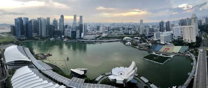 Singapore view from Marina Bay Sands Sky Deck in the afternoon
