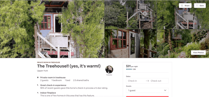 Tree house with indoor fireplace in New Zealand, a listing on Airbnb