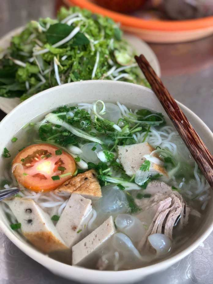 Vermicelli with grilled fish and jellyfish, or bún cá sứa, it's a great Nha Trang food for breakfast