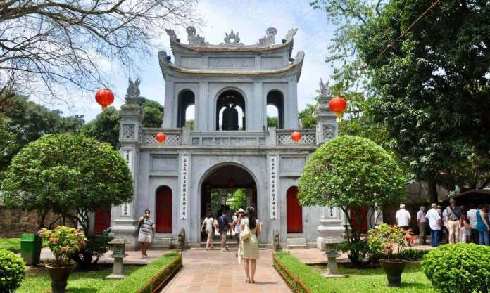 The entrance of Temple of Literature Hanoi