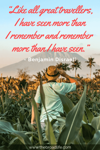 """Like all great travelers, I have seen more than I remember and remember more than I have seen."" - Benjamin Disraeli's travel quote"