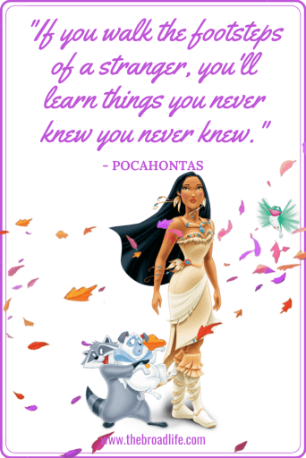 """If you walk the footsteps of a stranger, you'll learn things you never knew you never knew."" - Pocahontas's travel quote"