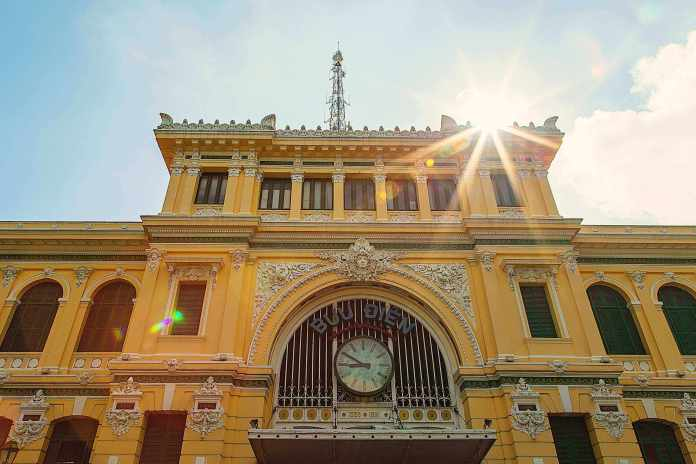 The front of Ho Chi Minh City Post Office