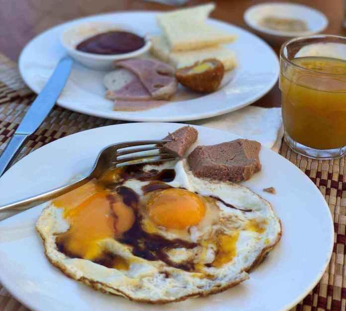 Buffet for breakfast at Pandanus Resort, Mui Ne, Vietnam