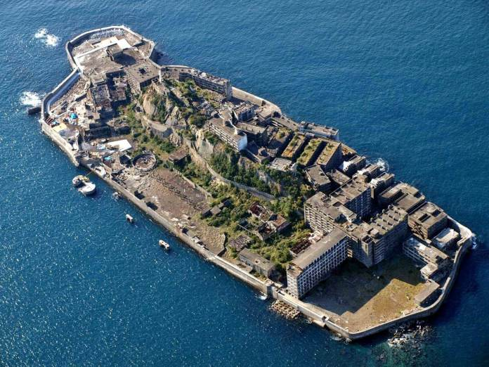 View from the above of Hashima Island