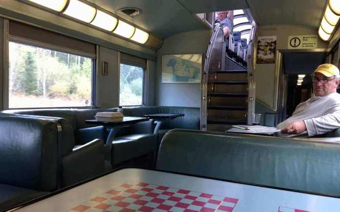 The restaurant in the skyline dome car
