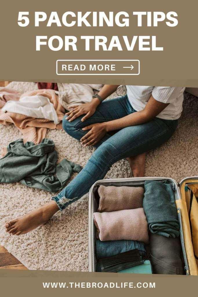 pinterest board of 5 packing tips for travel