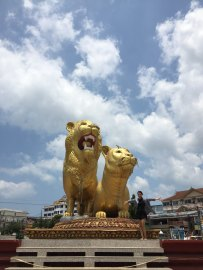 The Golden Lions, the symbol of Sihanoukville province.