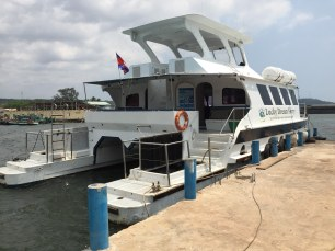 This speed ferry will take you to Koh Rong in about 40'. But we got on a smaller one.