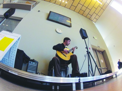Sisters High School and University of Oregon COCC branch graduate, Jeffery Pinley played classical guitar at COCC's Tunes at Noon on Jan. 16. Photo by Rhyan McLaury The Broadside