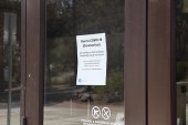 Closure notice remains on the doors of Grandview Hall. Wednesday, April 15. Photo by Kayla Scott.