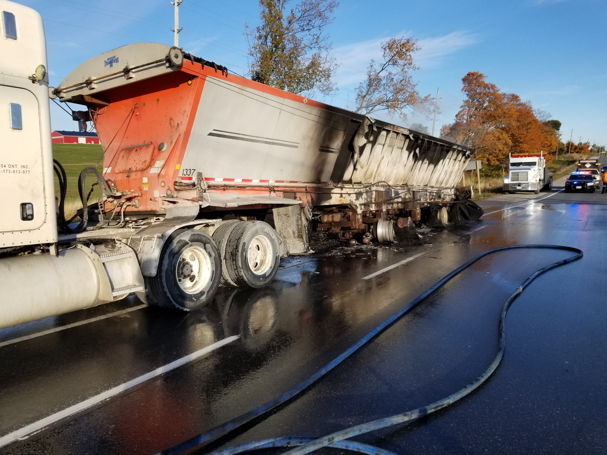 Transport truck catches fire on Highway 12 in Greenbank