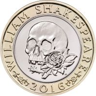 £2 coin depicting Shakespeare's tragedies