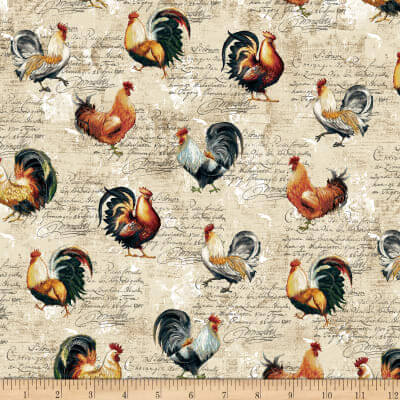Farmer's Market Roosters Toss Cream Fabric 0595291