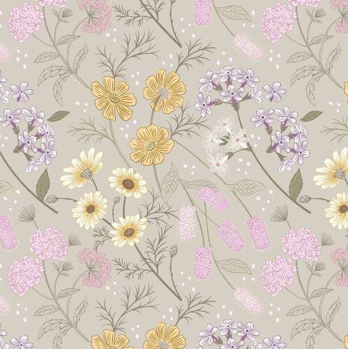Lewis & Irene - Botanic Garden - Garden Floral on Linen - A457.1