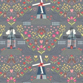 Lewis & Irene - Tulip Fields - Windmills light Slate - A458.3