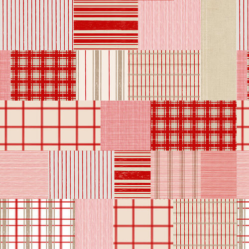 Christmas Memories - Red/ Tan Patchwork of Plaid and Stripe 5255-84