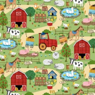 Michael Miller Fabrics - Around the Farm - CX9329-GREE-D