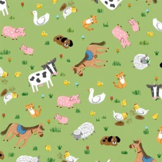 Michael Miller Fabrics - Barnyard Animals - CX9330-GREE-D