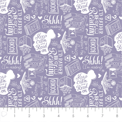 Camelot Fabrics - Literary - Rather Be Reading - LIGHT PURPLE