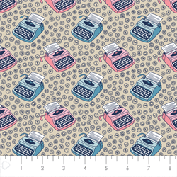 Camelot Fabrics - Literary - Typewriters - Cream