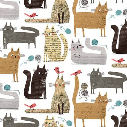 It's Raining Cats and Dogs by Terry Runyan - Cats at Play - White