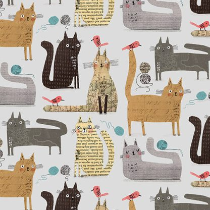 It's Raining Cats and Dogs by Terry Runyan - Cats at Play - Grey