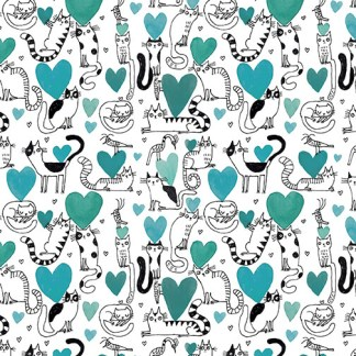 It's Raining Cats and Dogs by Terry Runyan - Hearts & Cats - Teal