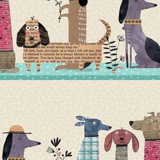 It's Raining Cats and Dogs by Terry Runyan - Dogs Together -Stripe Multi