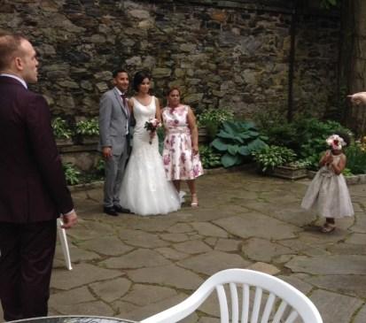 Golstein Wedding couple on Patio May 2017