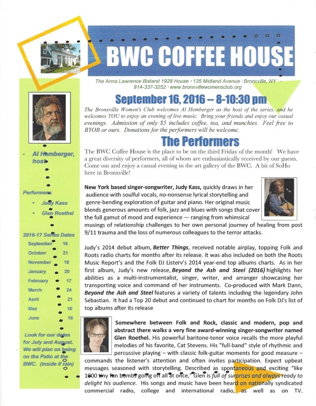 Septembr 2016 Coffeehouse flyer