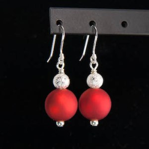 red matte with silver stardust earrings