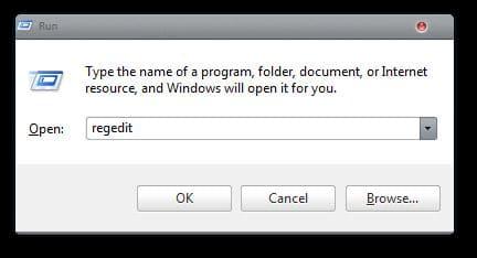 Registry Editor Using Run Dialog Box