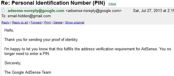 Adsense Address Verification