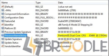 Changing Processor Name with Registry Editor