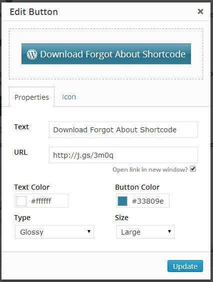Button using Forgot about Shortcode Button Plugin