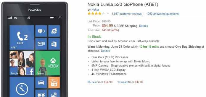 Nokia Lumia 520 for $55 on Amazon