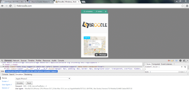 Broodle in Google Chrome with iPhone 5 Emulator