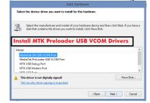 Installing USB VCOM Drivers