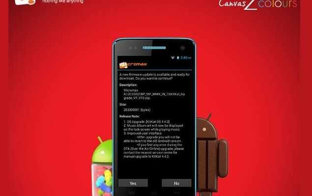 Android 4.4.2 Kitkat OTA Update in Micromax A120 Canvas 2 Colours