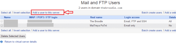 Mail and FTP Users in Virtualmin