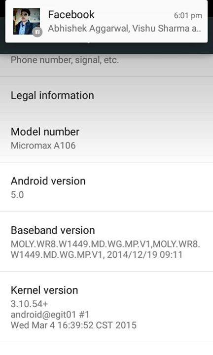 Official Android 5.0 Lollipop For Micromax A106 Unite 2 2