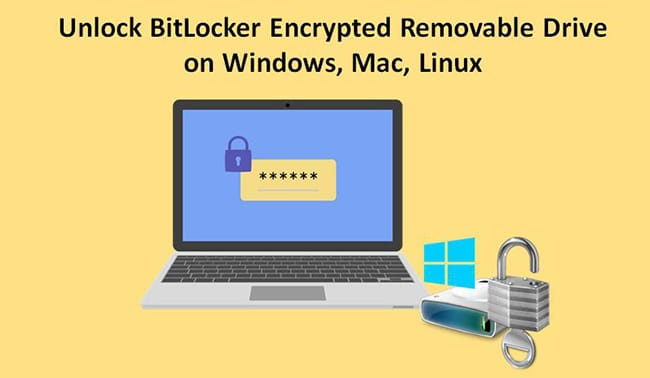 unlock BitLocker drive on Windows Mac Linux