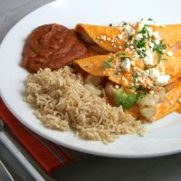Shrimp & Avocado Enchiladas in Creamy Tomato Sauce